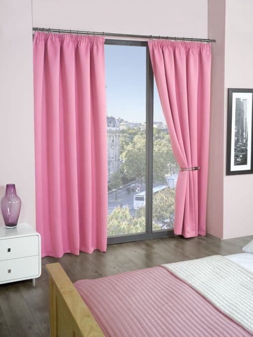 Woven Blackout Pencil Pleat Curtains in Pink