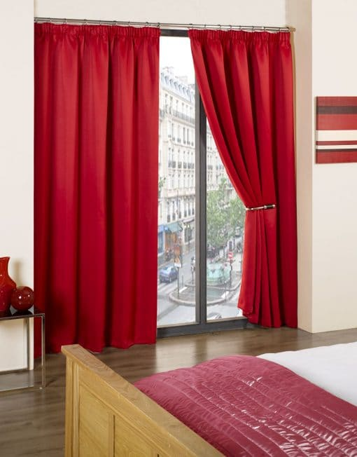 Woven Blackout Pencil Pleat Curtains in Red