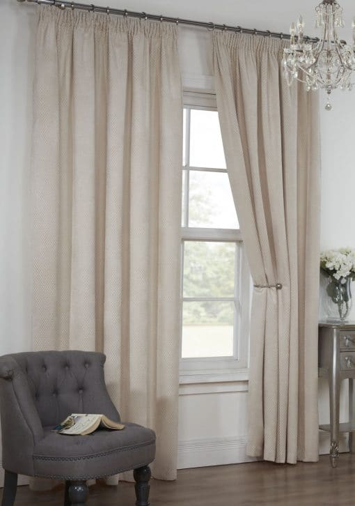 Waffle Weave Lined Pencil Pleat Curtains in Natural