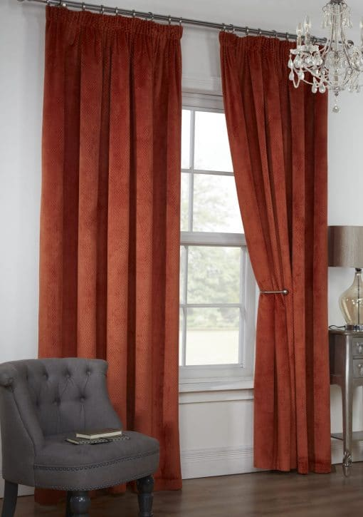 Waffle Weave Lined Pencil Pleat Curtains in Rustica