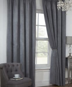 Waffle Weave Lined Pencil Pleat Curtains in Silver