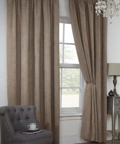 Waffle Weave Lined Pencil Pleat Curtains in Taupe