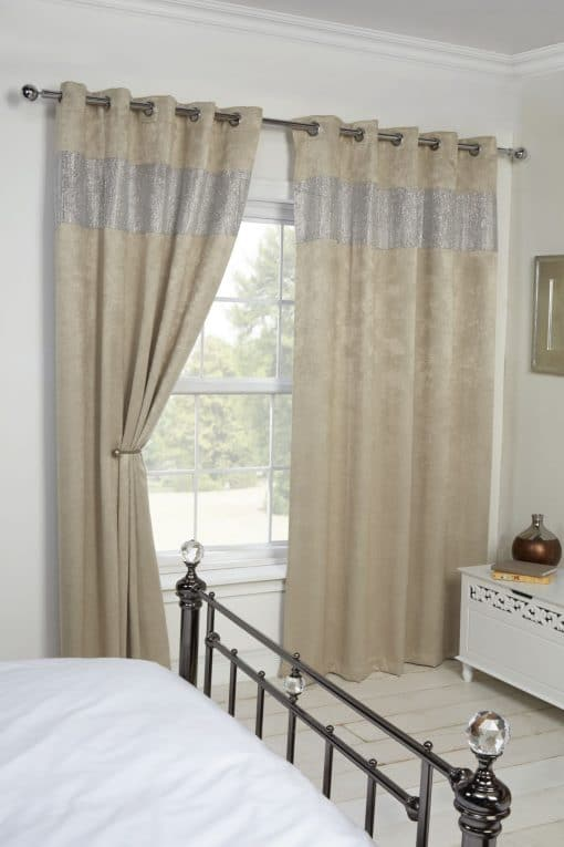 Glamourous Woven Blackout Eyelet Curtains in Natural