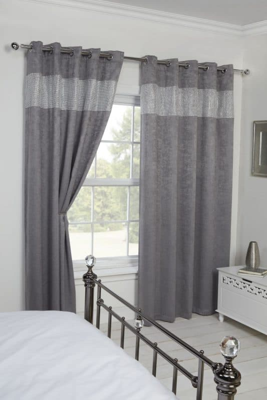 Glamourous Woven Blackout Eyelet Curtains in Silver