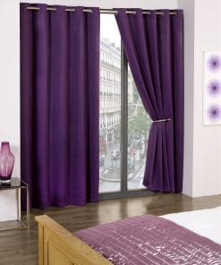 Woven Blackout Eyelet Curtains in Amethyst