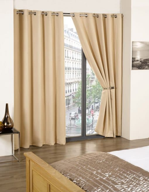 Woven Blackout Eyelet Curtains in Beige
