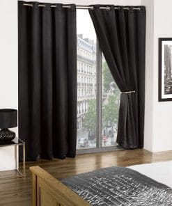 Woven Blackout Eyelet Curtains in Black