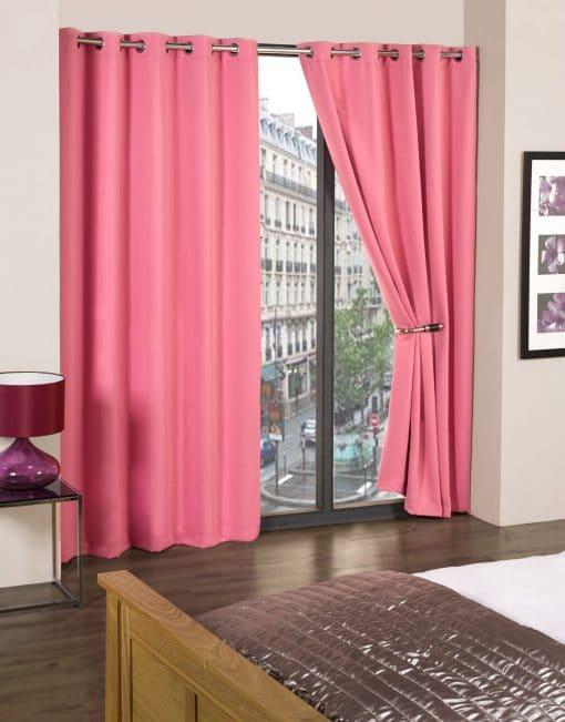 Woven Blackout Eyelet Curtains in Pink