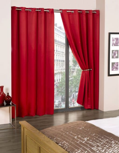 Woven Blackout Eyelet Curtains in Red
