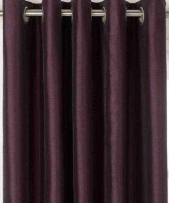Faux Silk Eyelet Curtain Aubergine