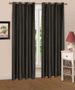 Luminous Lined Eyelet Curtains & Tie Backs in Black