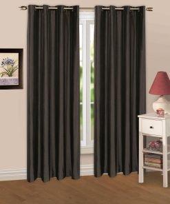 Luminous Lined Eyelet Curtains & Tie Backs in Black