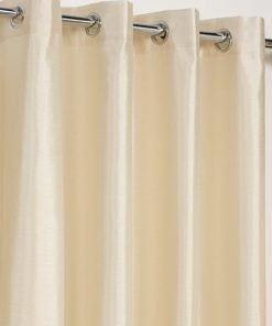 Faux Silk Eyelet Curtain Cream