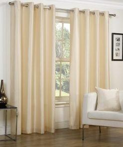Faux Silk Eyelet Curtains Cream