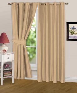 Luminous Lined Eyelet Curtains & Tie Backs in Latte