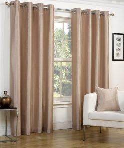 Faux Silk Eyelet Curtains Latte