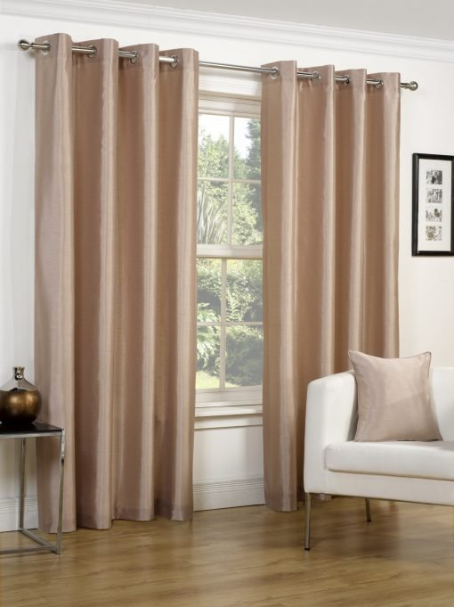 Faux Silk Eyelet Curtains Latte
