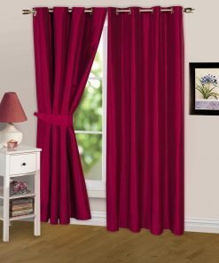 Luminous Lined Eyelet Curtains & Tie Backs in Red