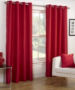 Faux Silk Eyelet Curtains Red