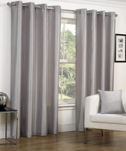 Faux Silk Eyelet Curtains Silver