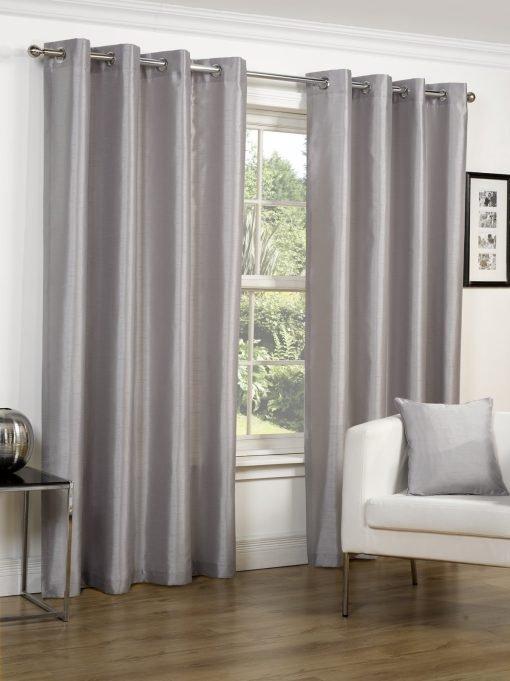 Faux Silk Eyelet Curtains Silver