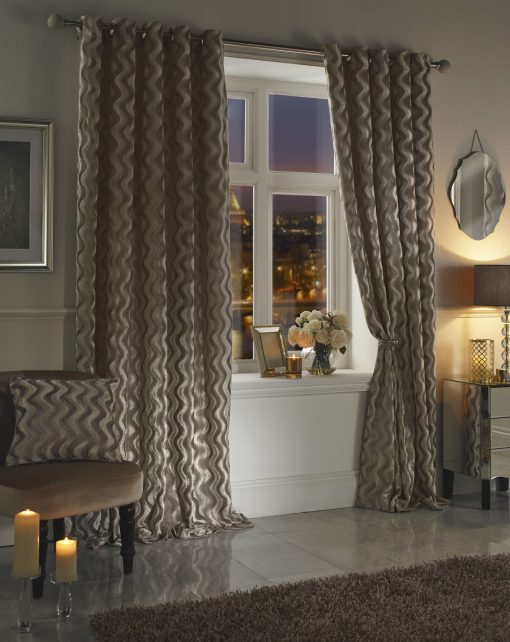Ripple Velvet Curtains Taupe