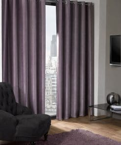 Woven Blackout Eyelet Curtains in Aubergine