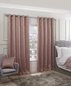 Royal Damask Collection - Elegant Woven Blackout Eyelet Curtains in Blush Pink