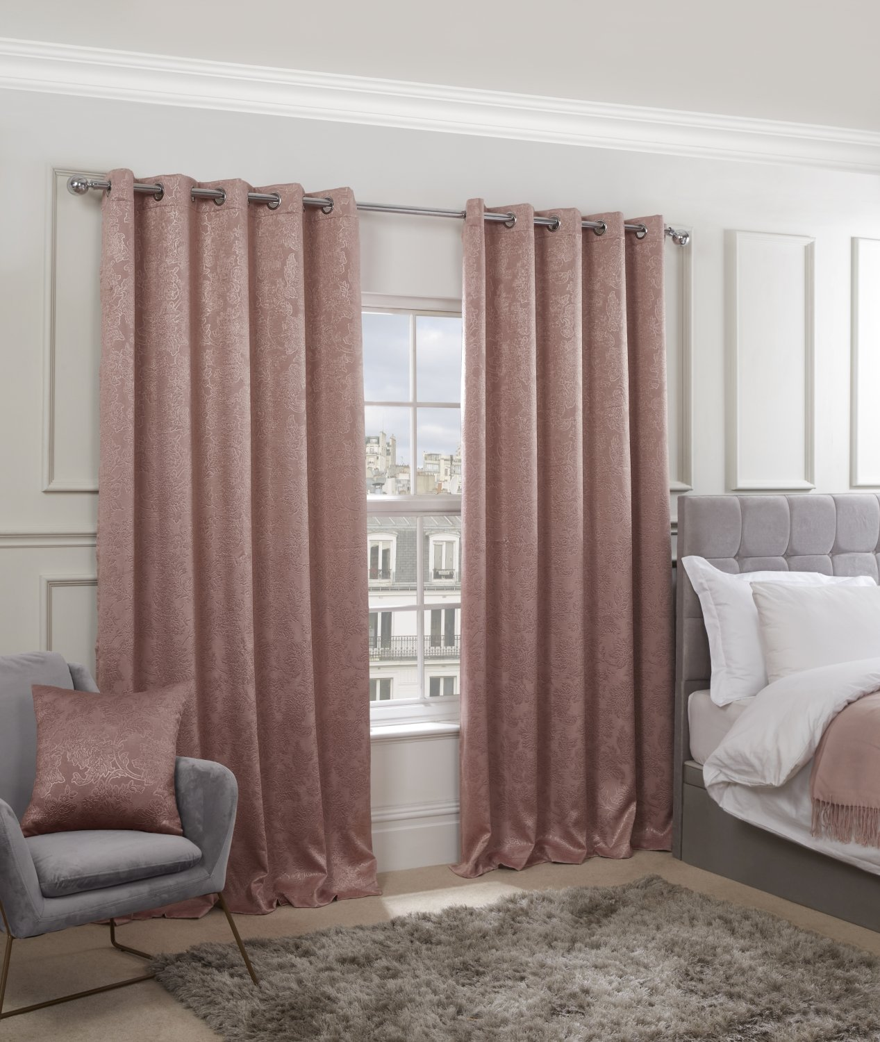 Royal Damask Collection Elegant Woven Blackout Eyelet Curtains In Blush Pink Homefords