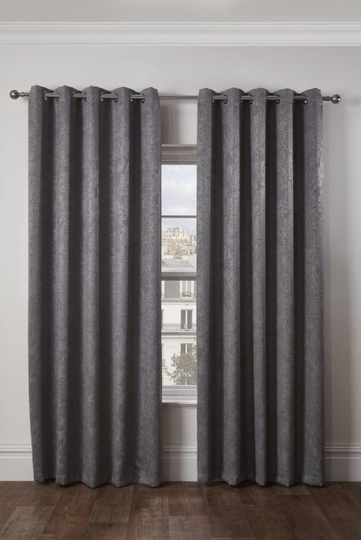 Royal Damask Collection - Elegant Woven Blackout Eyelet Curtains in Silver