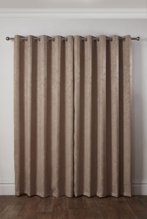 Royal Damask Collection - Elegant Woven Blackout Eyelet Curtains in Taupe