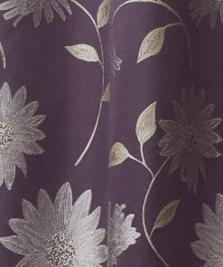Floral Lined Pencil Pleat Curtains in Aubergine