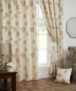 Floral Lined Pencil Pleat Curtains in Cream
