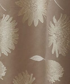 Floral Lined Pencil Pleat Curtains in Latte
