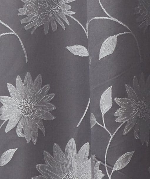 Floral Lined Pencil Pleat Curtains in Silver