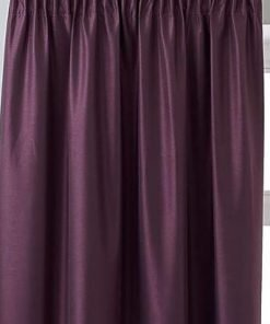 Faux Silk Pencil Pleat Curtain Aubergine