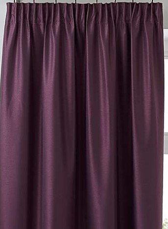 Faux Silk Pencil Pleat Curtain Aubergine