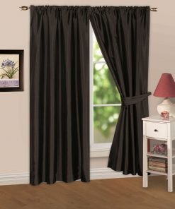 Faux Silk Pencil Pleat Curtain Black