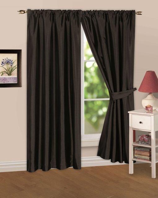 Faux Silk Pencil Pleat Curtain Black