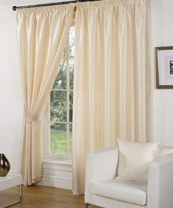 Faux Silk Pencil Pleat Curtains Cream
