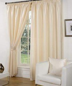 Faux Silk Pencil Pleat Curtains Cream