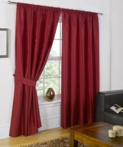 Faux Silk Pencil Pleat Curtain Red