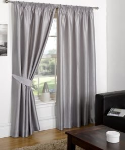 Faux Silk Pencil Pleat Curtain Silver