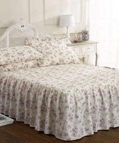 Printed Floral Bedspread Set in Lilac