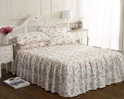 Printed Floral Bedspread Set in Lilac