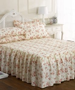 Printed Floral Bedspread Set in Pink