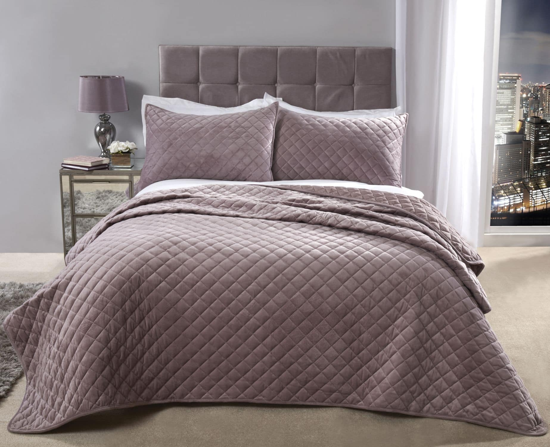 Banbury Collection Quilted Soft Touch Velvet Bedspread