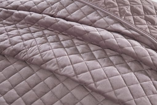Quilted Soft Touch Velvet Bedspread Set in Heather