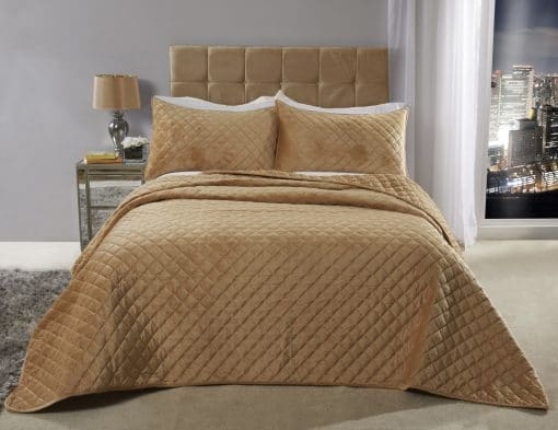 Quilted Soft Touch Velvet Bedspread Set in Ochre