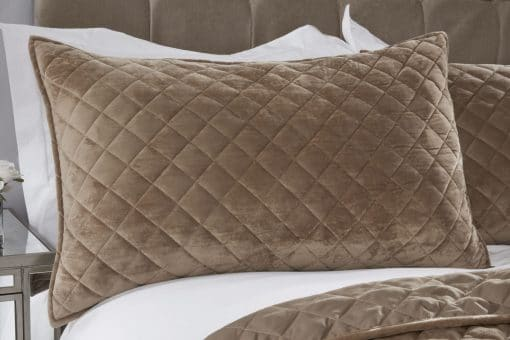 Quilted Soft Touch Velvet Bedspread Set in Taupe